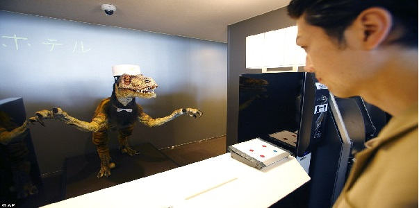 japan's hotel where guests welcomed by robotics dinosaur